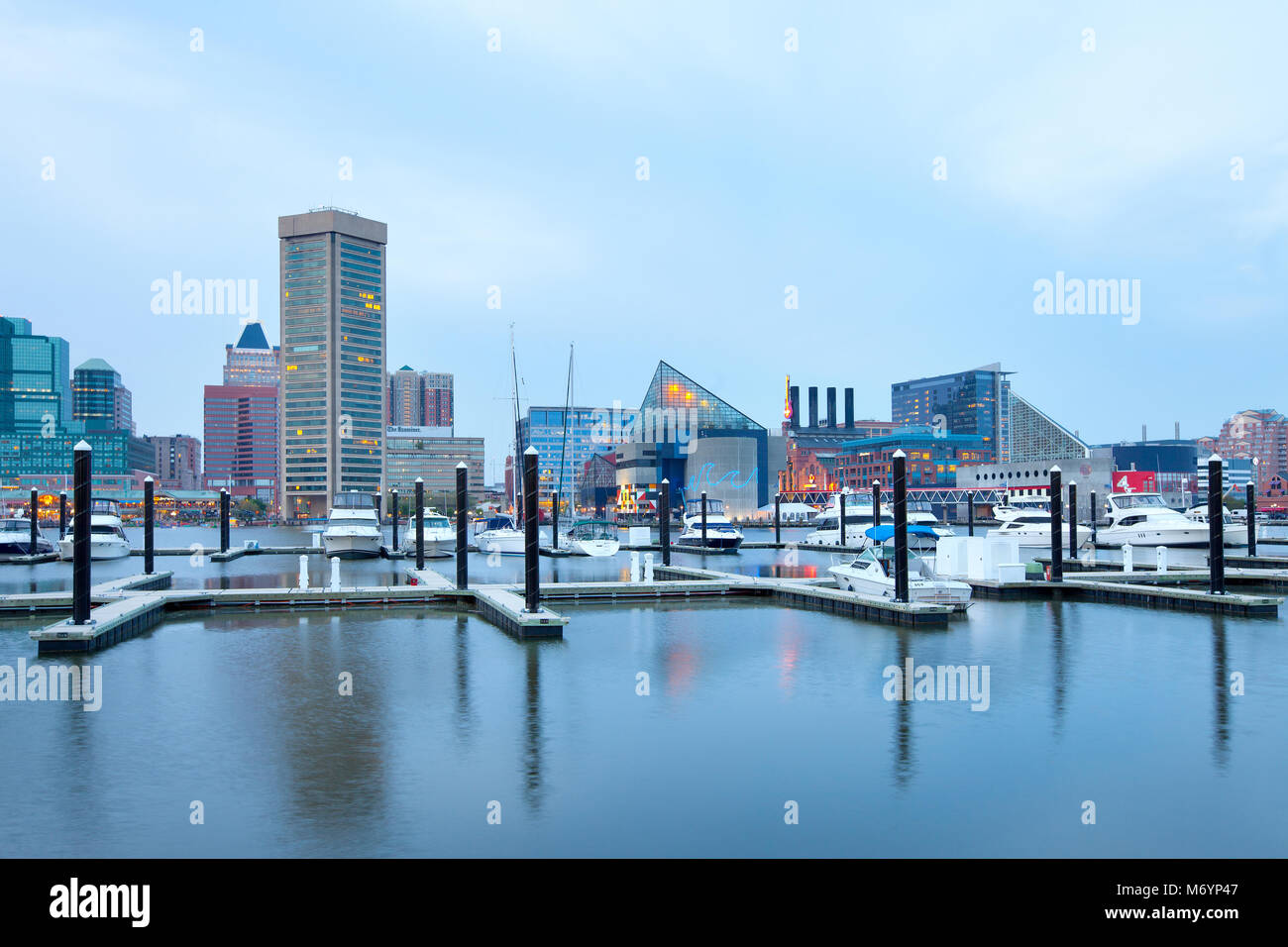 Baltimore, Maryland, United States – Downtown city skyline at the Inner Harbor and Baltimore National Aquarium. - Stock Image