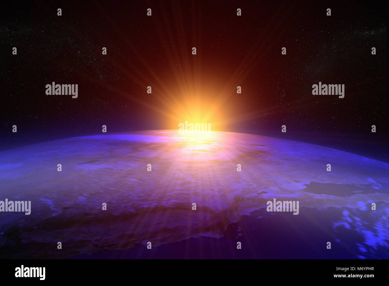 3D rendering of a sunset / sunrise from space - Stock Image