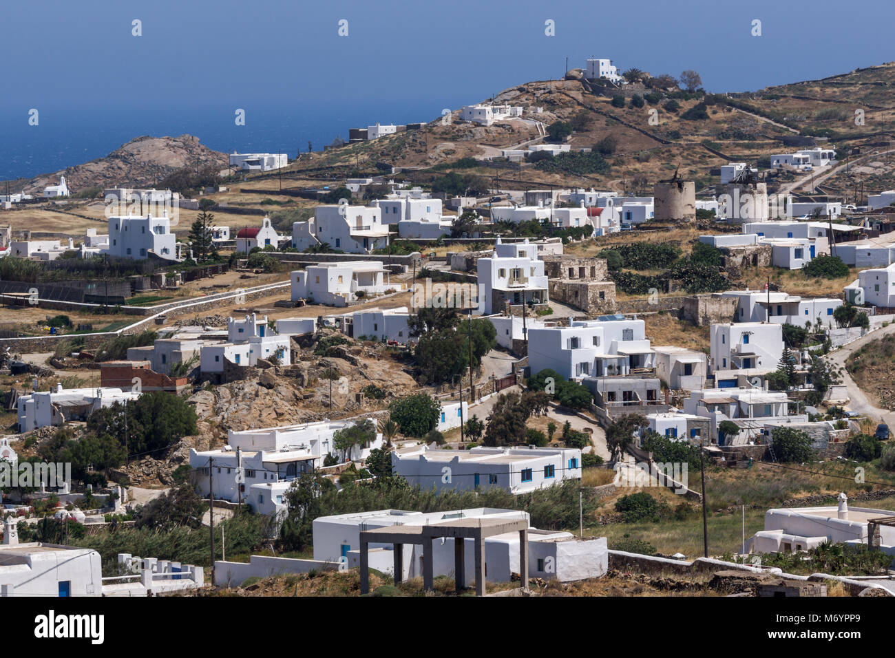 Panorama of Town of Ano Mera, island of Mykonos, Cyclades, Greece Stock Photo