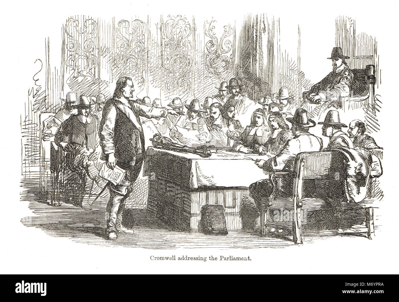 Oliver Cromwell addressing the rump parliament in April 1653, prior to dismissing them on the 20th. - Stock Image