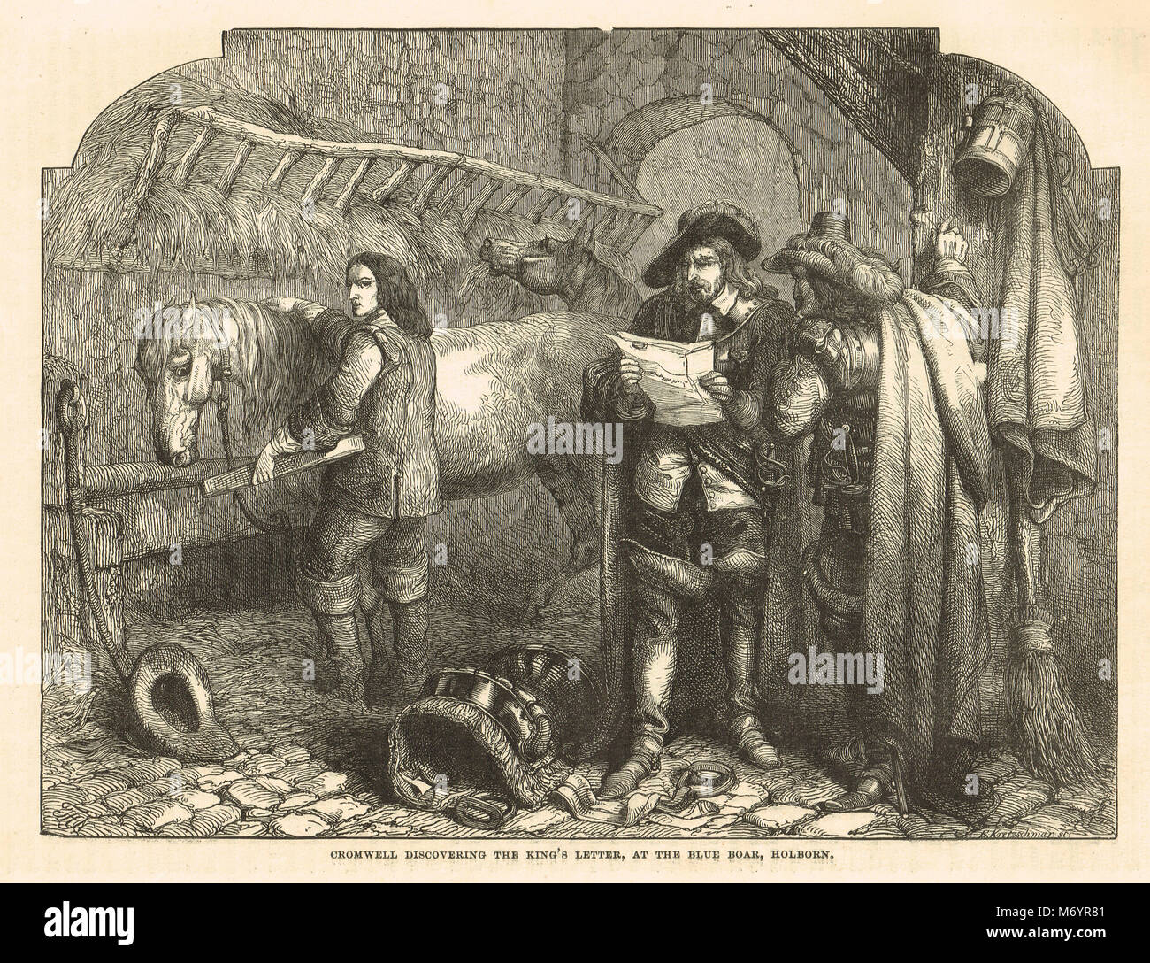 Oliver Cromwell discovering the King's letter, The Blue Boar, Holborn, 1647 - Stock Image