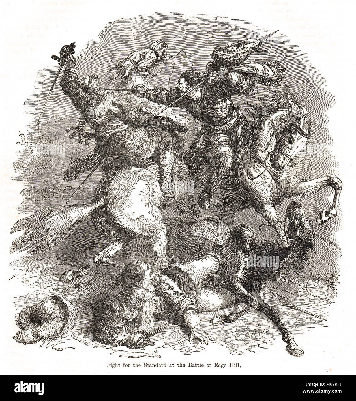 Fight for the Standard, Battle of Edgehill, AKA edge hill, 23 October 1642, first pitched battle of the English - Stock Image