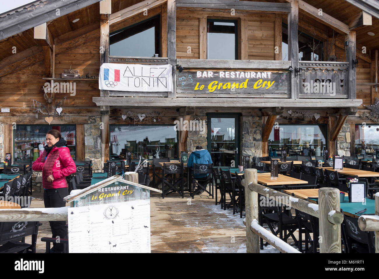 The Chalet Style Le Grand Cry Bar and Restaurant by the Slopes of the Ski Resort Les Gets in the French Alps Haute - Stock Image