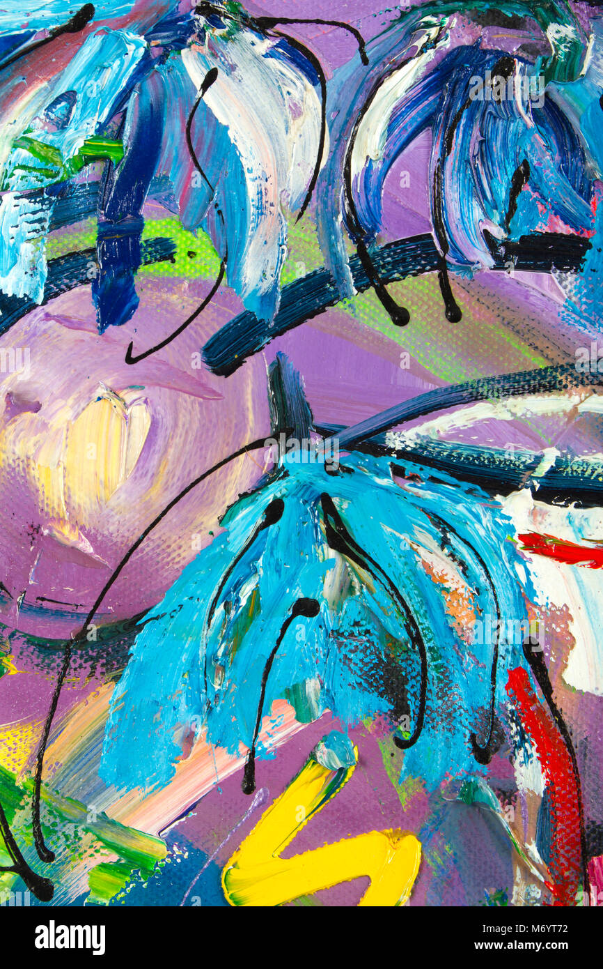 Vibrant multi-colored original oil painting semi-abstract close up