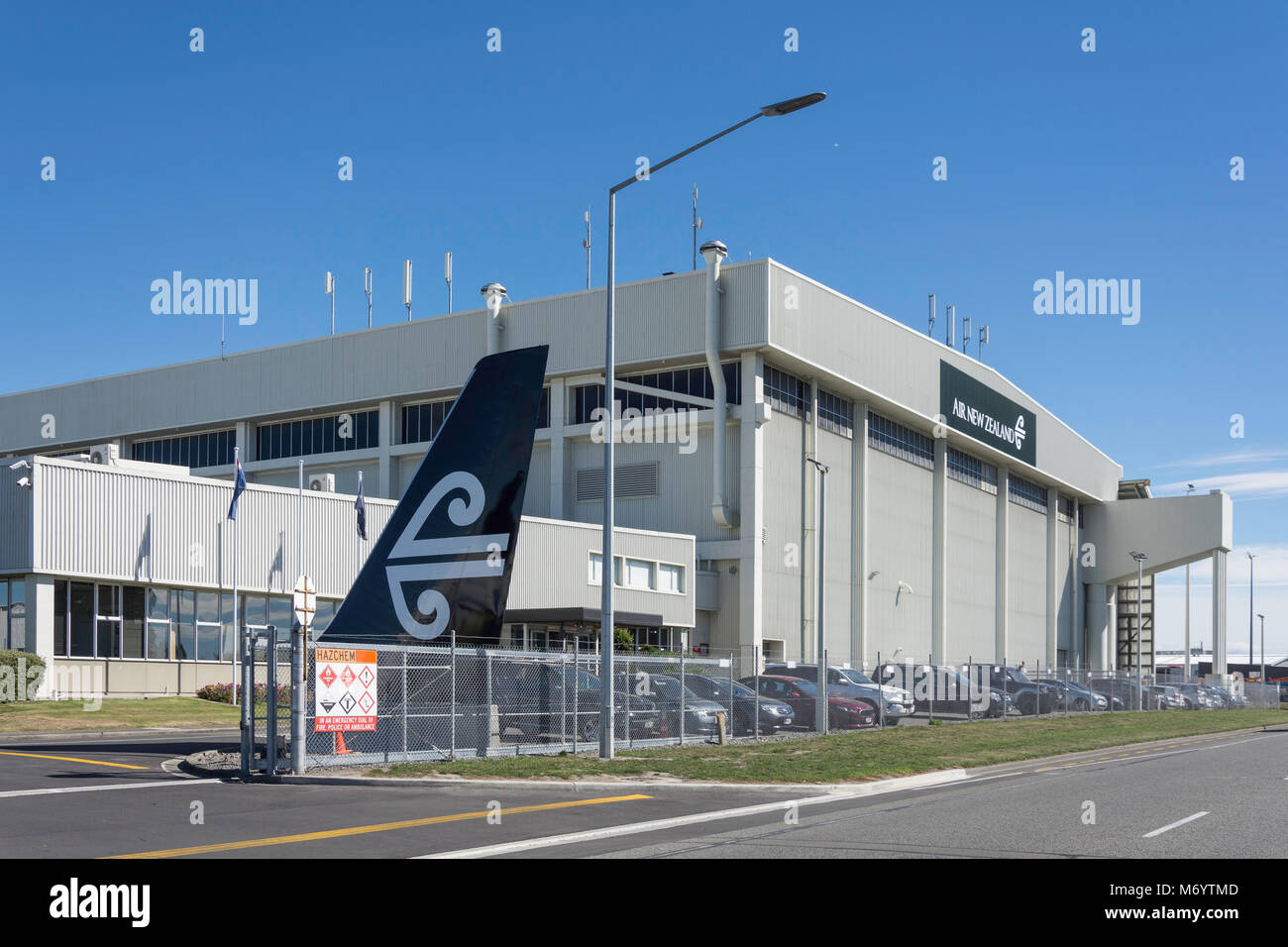 Air New Zealand engineering and maintenance hangar, Orchard Road, Christchurch Airport, Harewood, Christchurch, - Stock Image