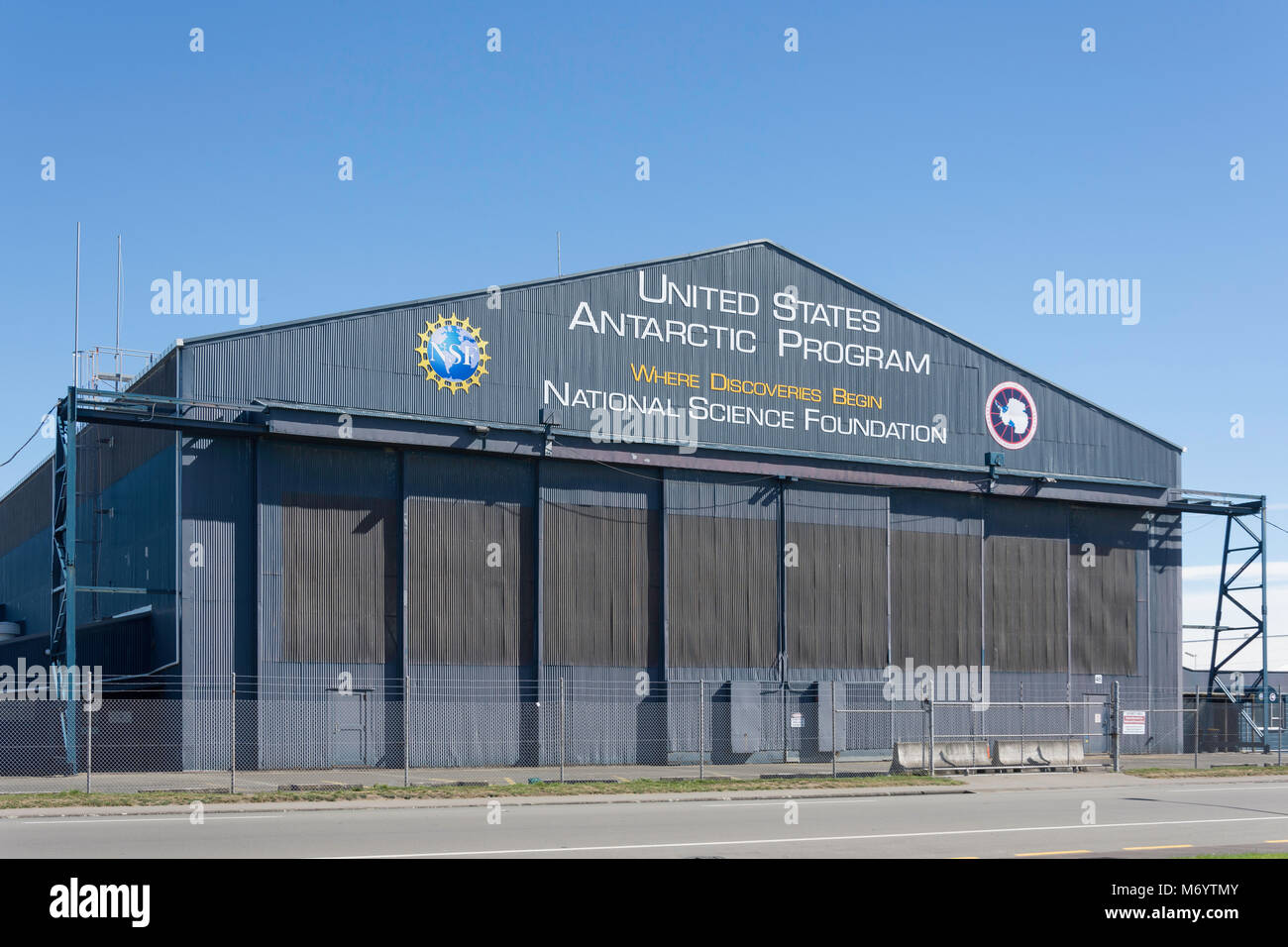 United States Antartica Programe hangar, Orchard Road, Harewood, Christchurch, Canterbury, New Zealand - Stock Image