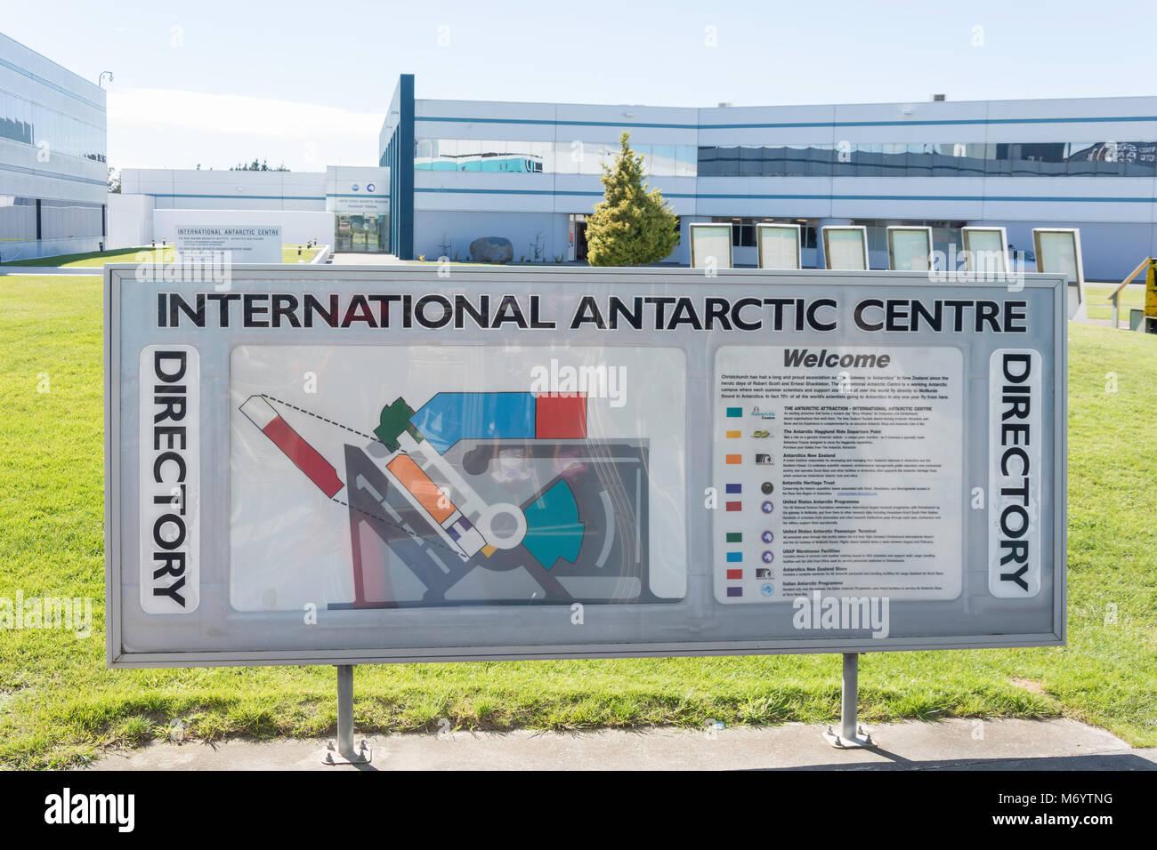 Directory sign at International Antarctic Centre, Orchard Road, Harewood, Christchurch, Canterbury, New Zealand - Stock Image
