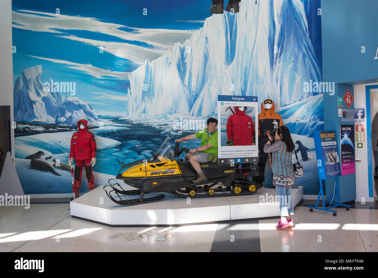 Snowmobile photo opportunity at International Antarctic Centre, Orchard Road, Harewood, Christchurch, Canterbury, - Stock Image