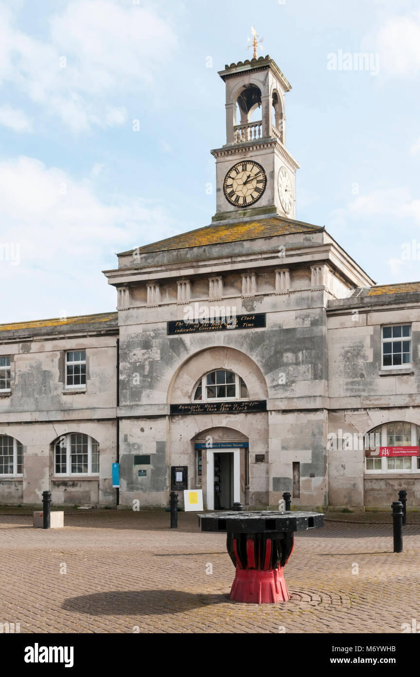 Ramsgate Clock House houses the Local History & Maritime Museum. The clock allows calculation of Ramsgate Mean - Stock Image