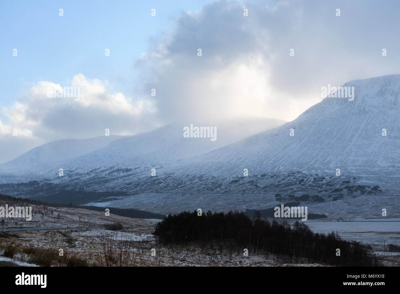 Water of Tulla valley on a cold winter day in the scottish highlands. - Stock Image
