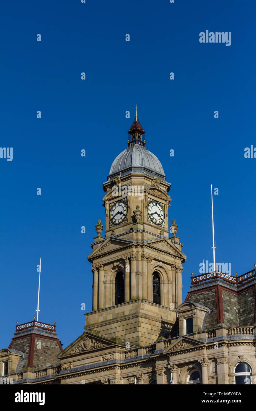 Clock tower of Dewsbury town hall - Stock Image