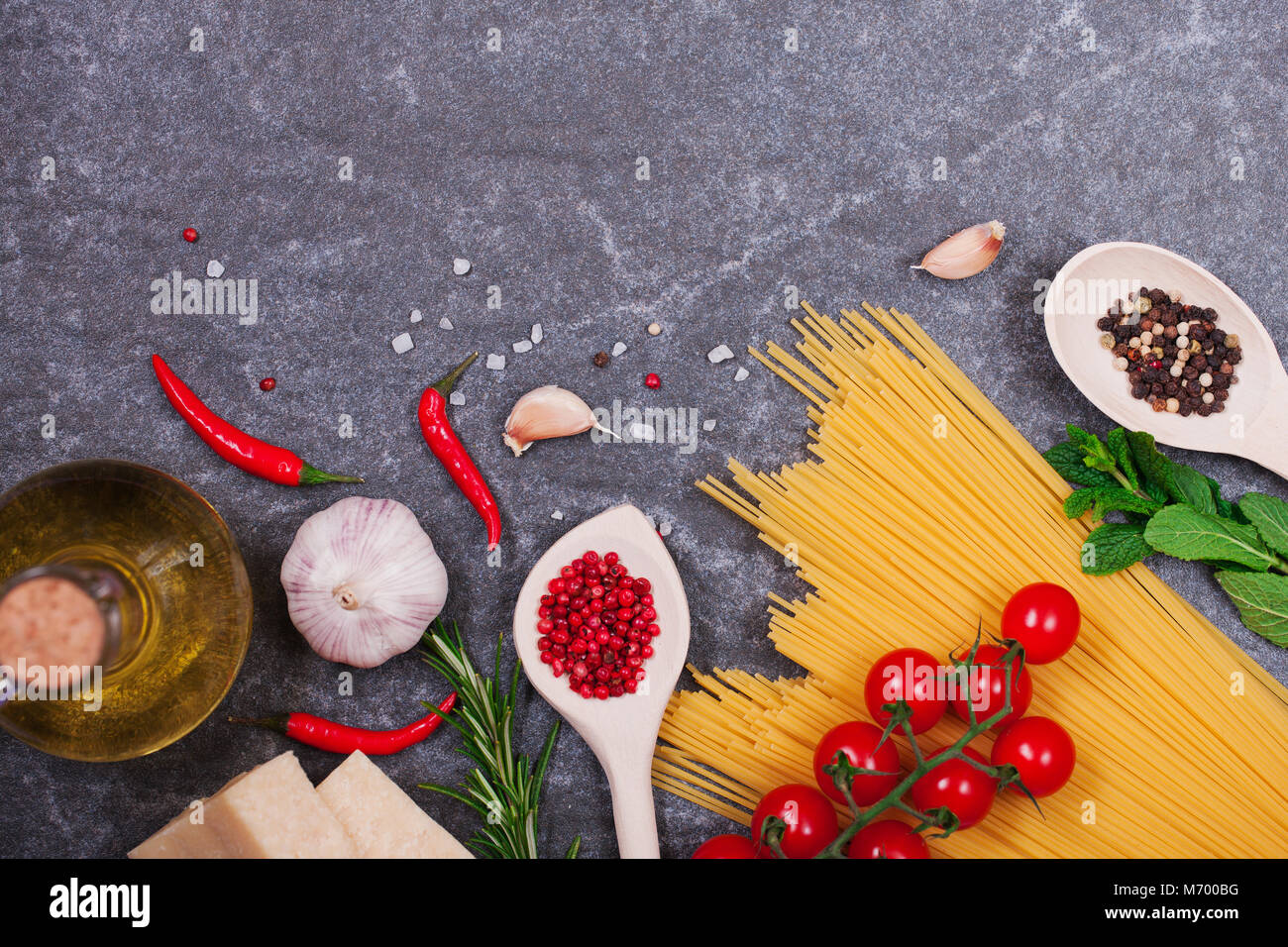 Italian products top view with copy space - Stock Image