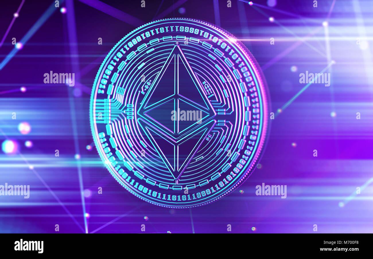 Neon glowing Ethereum (ETC) coin in Ultra Violet colors with cryptocurrency blockchain nodes in blurry background. - Stock Image