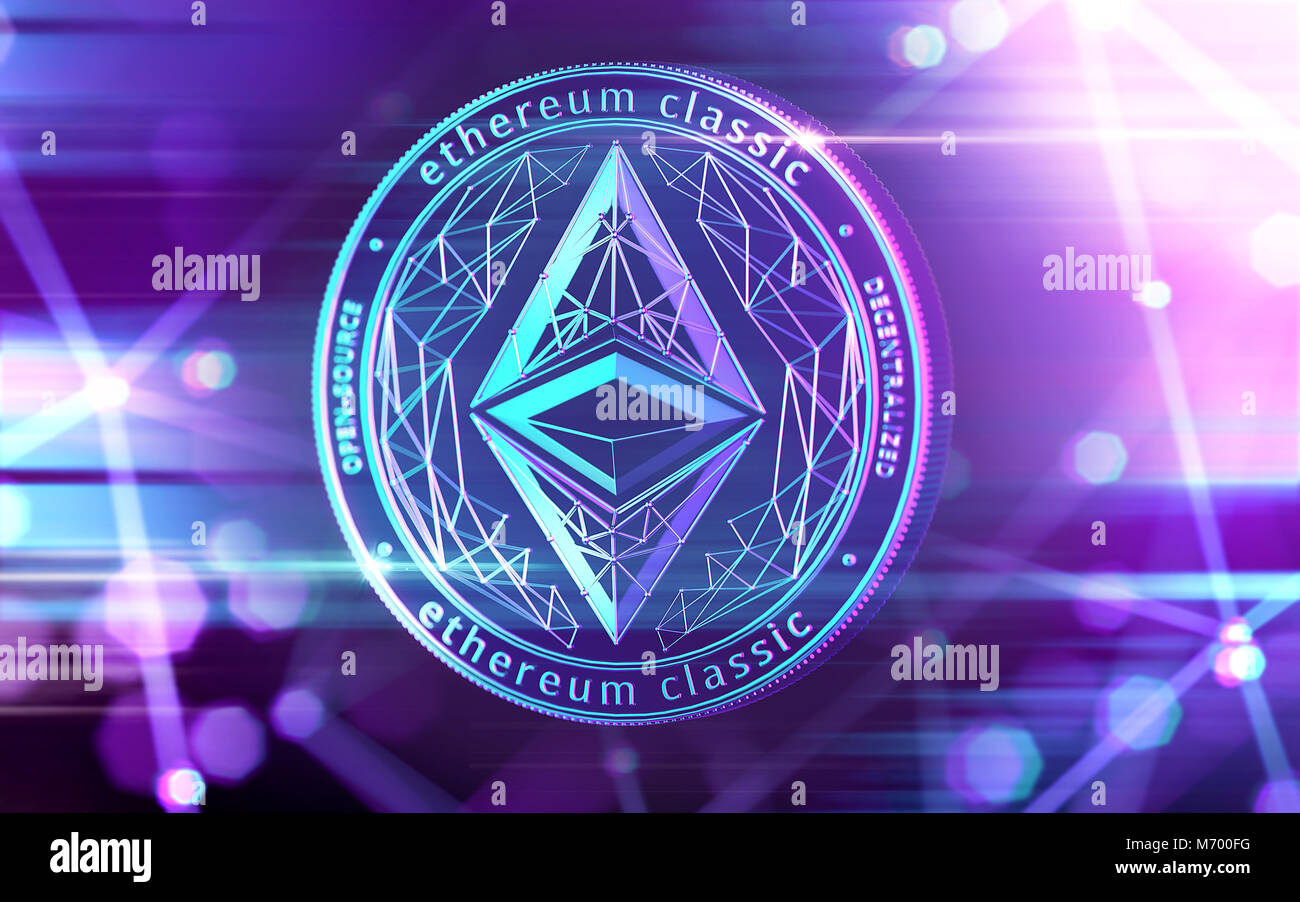 Neon glowing Ethereum Classic (ETC) coin in Ultra Violet colors with cryptocurrency blockchain nodes in blurry background. - Stock Image