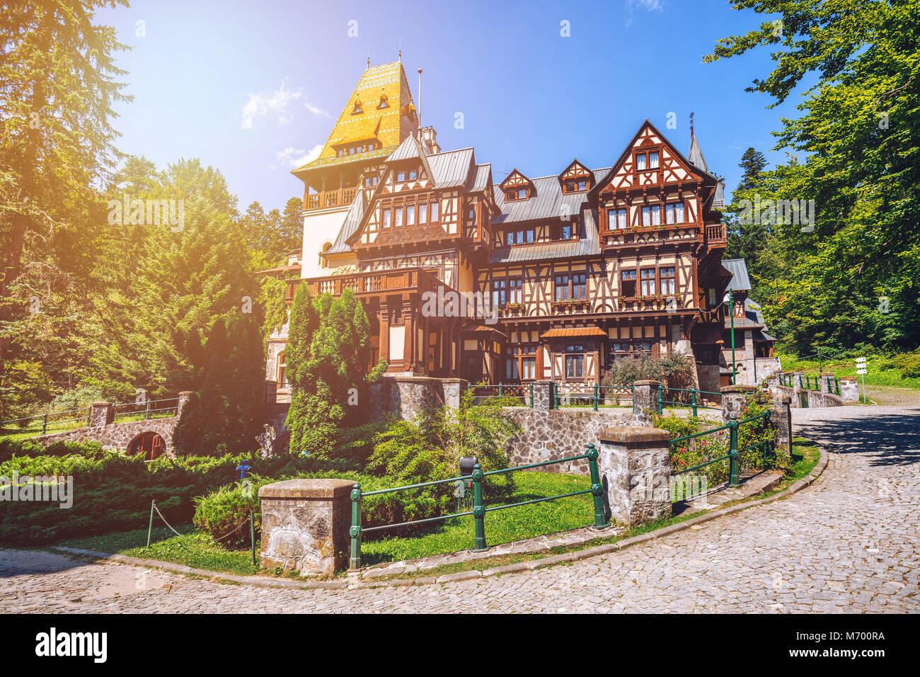 Pelisor castle, Sinaia, Romania. View of famous Pelisor castle situated next to the Peles castle near romanian city - Stock Image
