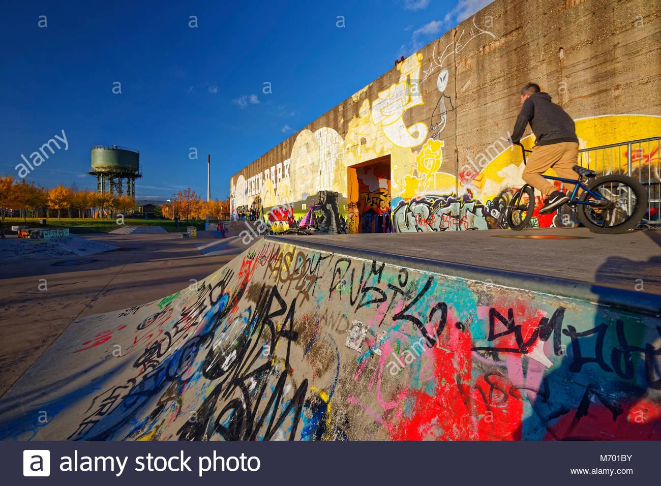 skatepark BMX-rider on funbox sport concrete wall graffiti colourful colour mural Rheinpark Duisburg-Hochfeld North - Stock Image