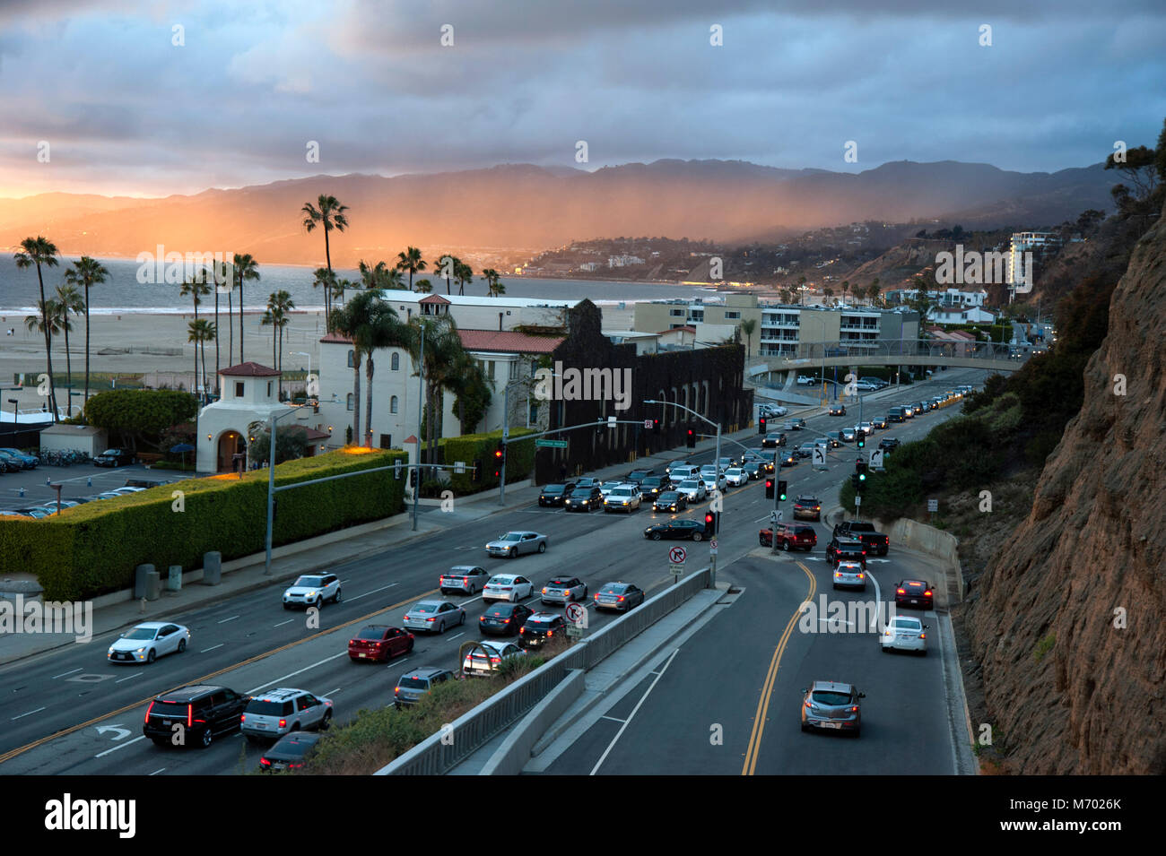 The California Incline meeting the Pacific Coast Highway in Santa Monica, California - Stock Image