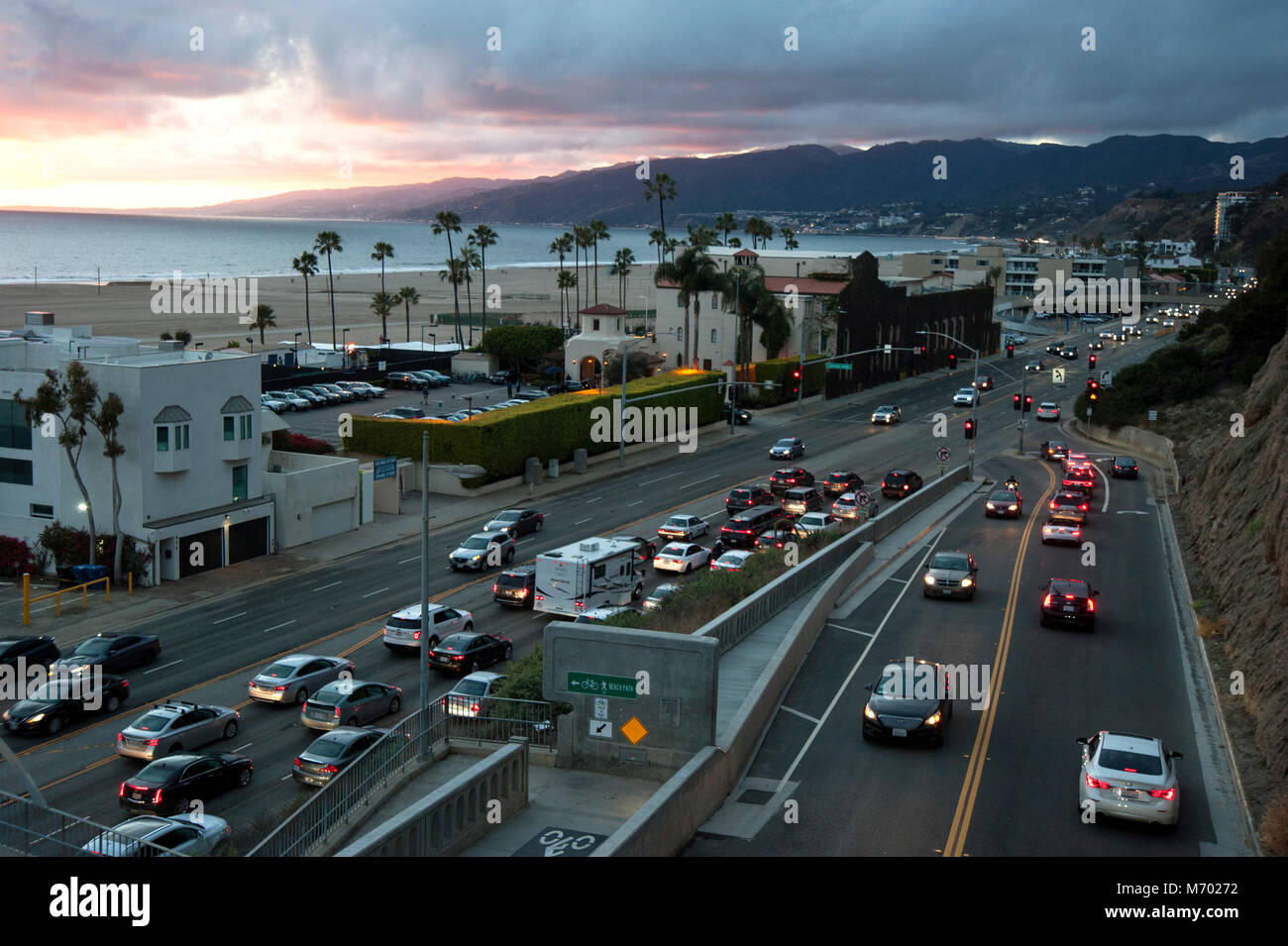 Sunset over PCH and the California Incline in Santa Monica, CA - Stock Image