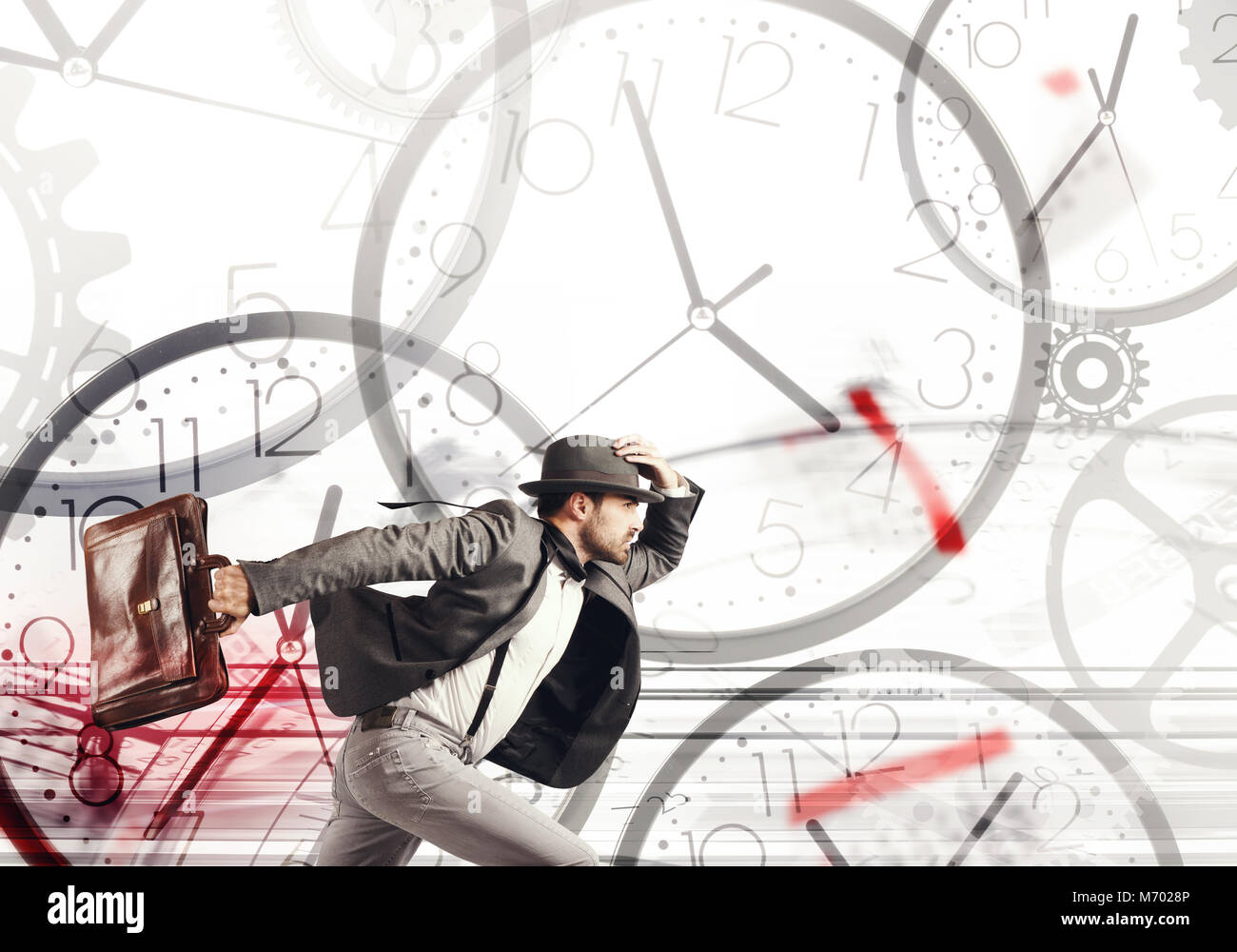 Race against time to meet the deadlines - Stock Image