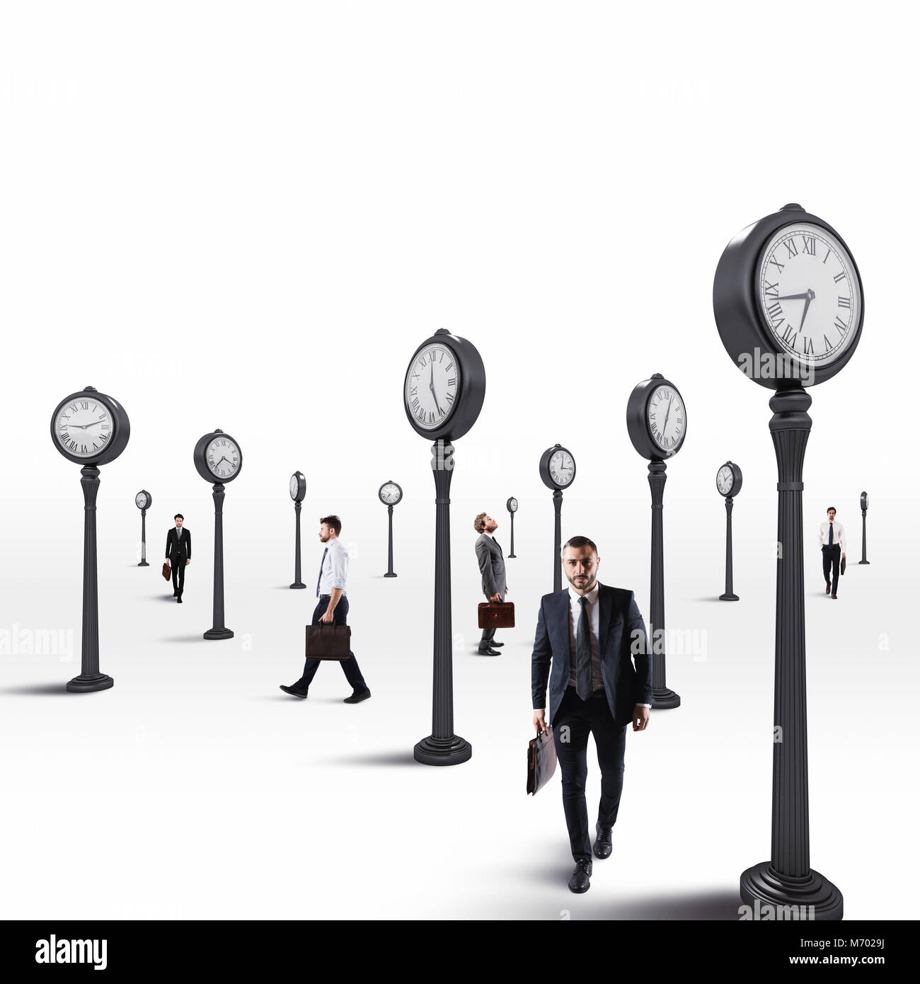 Business men always keep an eye on the clock. 3D Rendering Stock Photo
