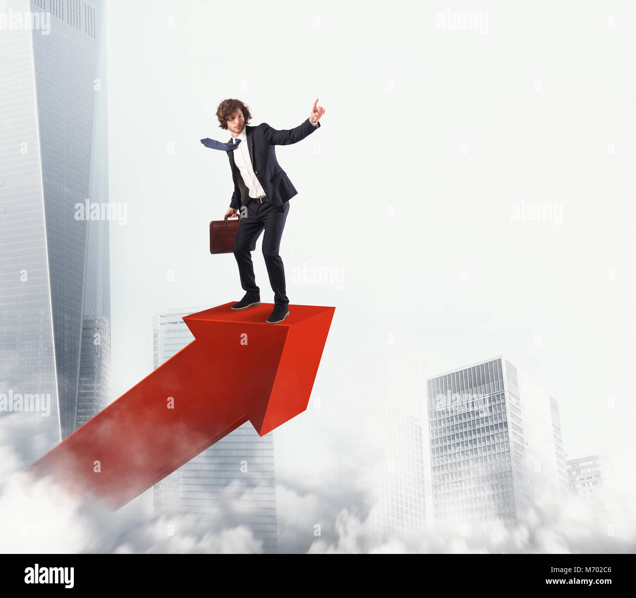 Businessman rides a statistic arrow to the sky. 3D Rendering - Stock Image