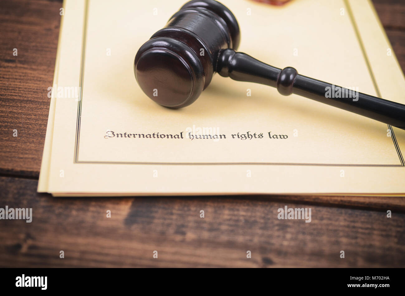 Law and Justice, Legality concept, Notary seal, Judge Gavel , International human rights law concept. - Stock Image