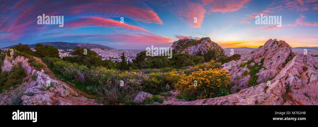 View of Athens from Lycabettus hill at sunset, Greece. - Stock Image