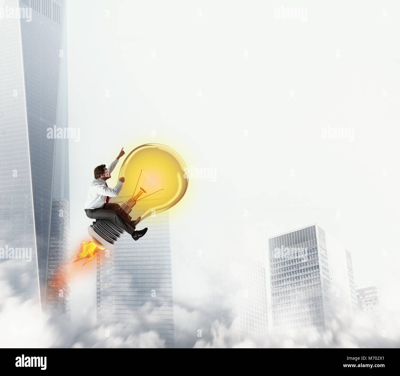 Businessman rides a bulb light to the sky. 3D Rendering - Stock Image