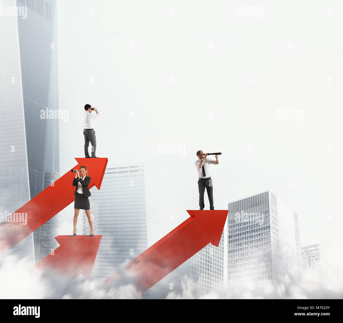 Business men on arrows statistics looking for business. 3D Rendering - Stock Image