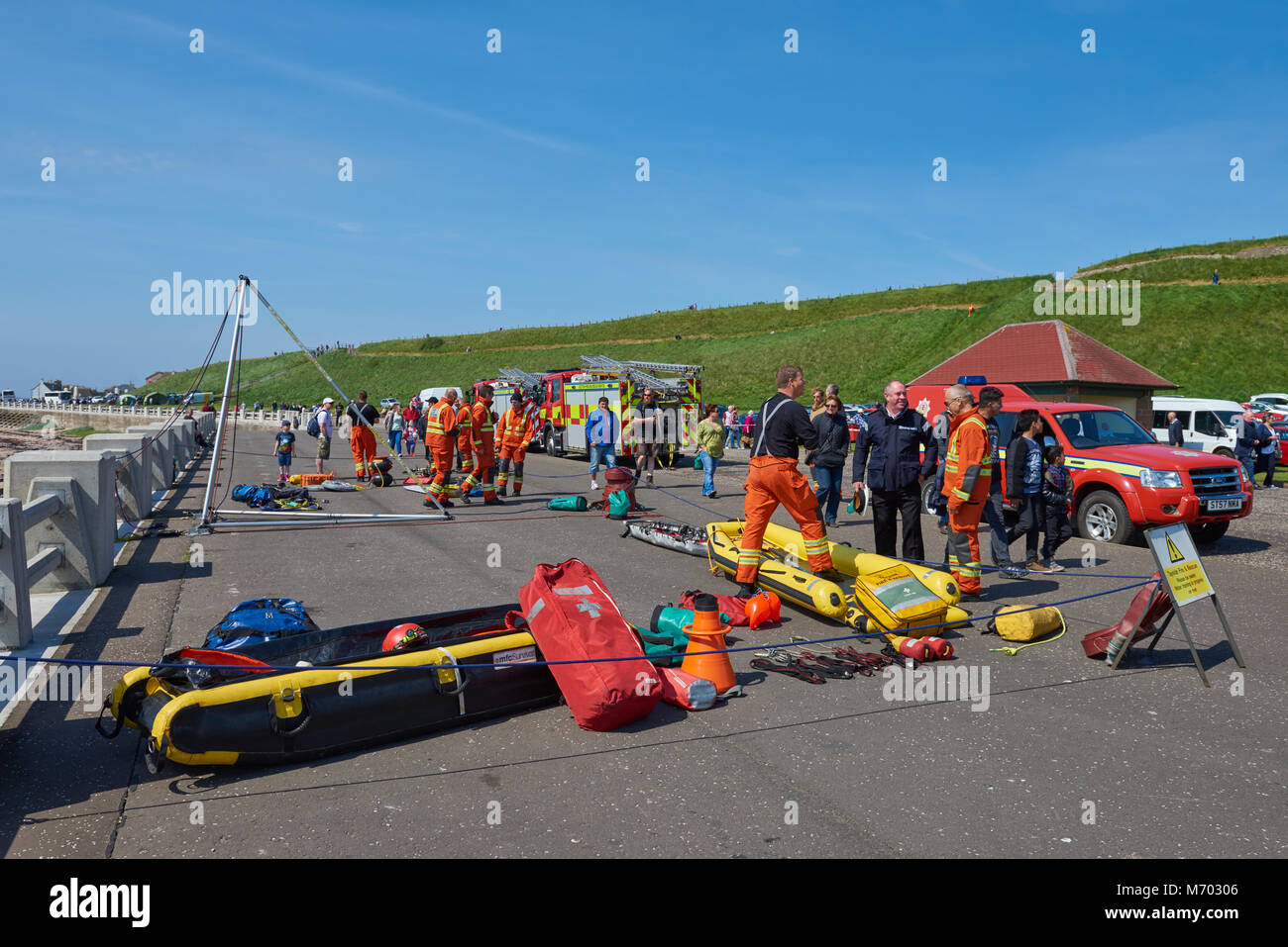Tayside Fire and Rescue Team demonstrate their skills at a public event held at Victoria Park in Arbroath, Scotland. - Stock Image