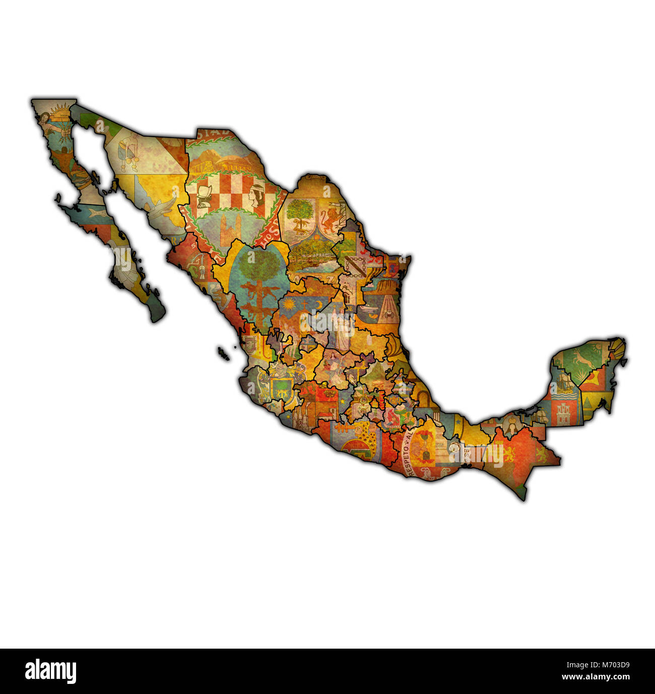 emblems of states of Mexico on map with administrative divisions and borders - Stock Image