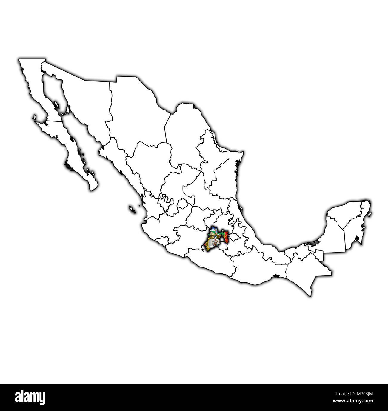 emblem of Mexico state on map with administrative divisions and borders of Mexico - Stock Image