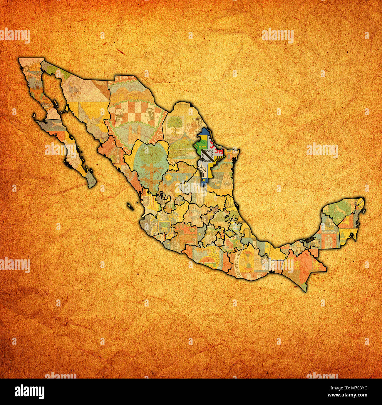 Map of nuevo leon stock photos map of nuevo leon stock images alamy emblem of nuevo leon state on map with administrative divisions and borders of mexico stock publicscrutiny Image collections