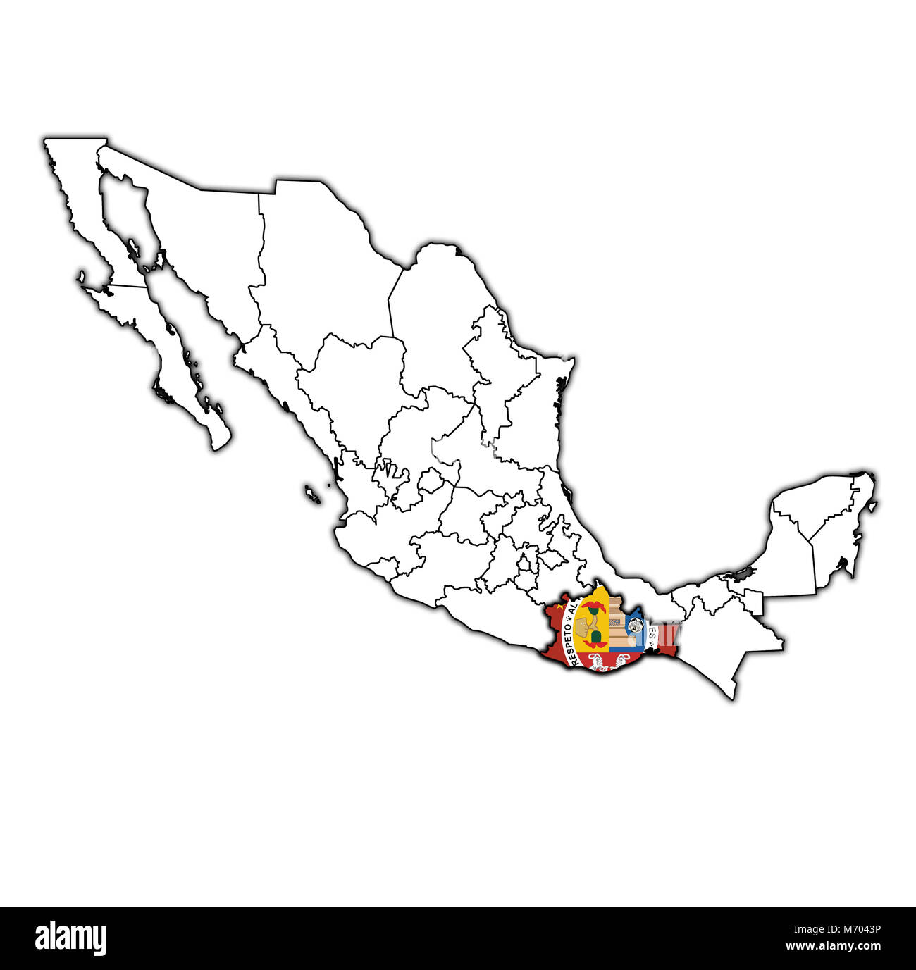 emblem of Oaxacaa state on map with administrative divisions and borders of Mexico - Stock Image