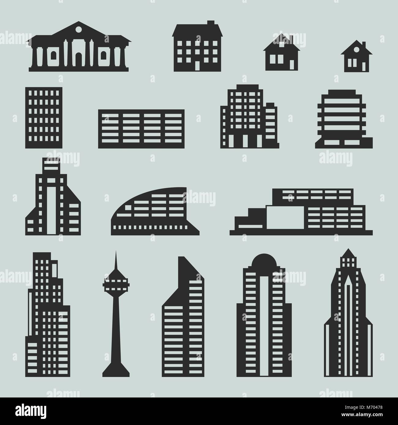 City Buildings Symbol Icon Vector Stock Photos & City