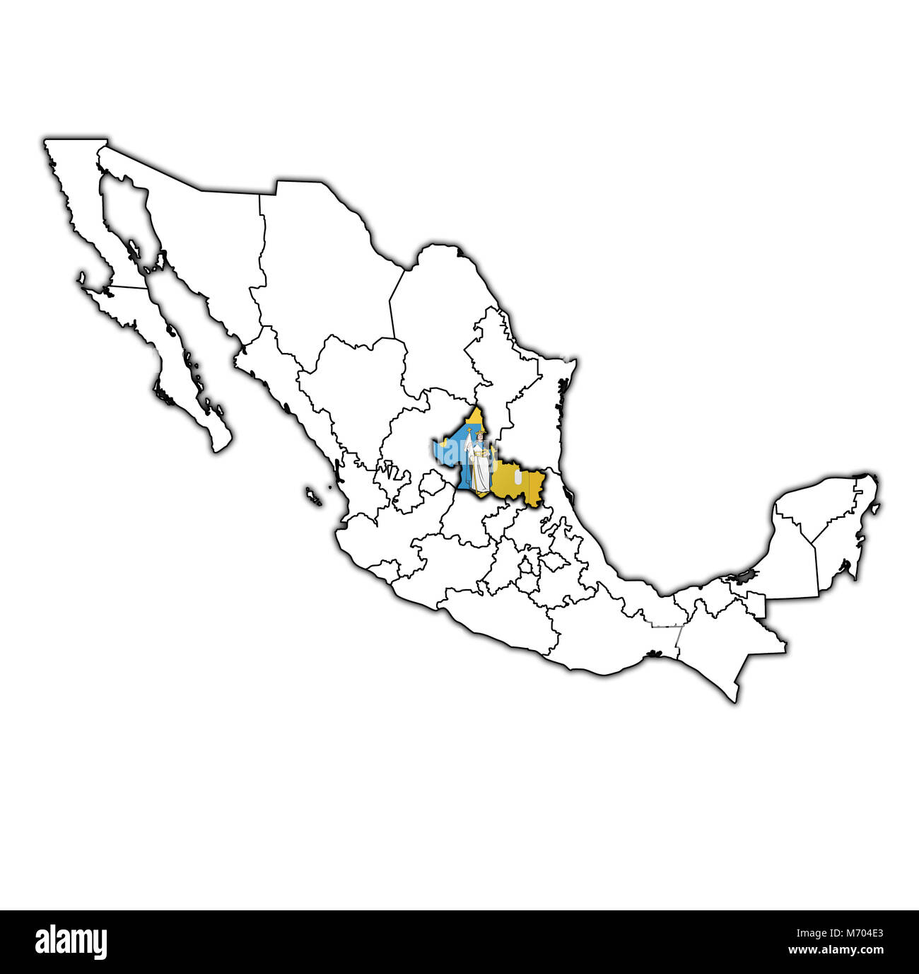 emblem of San Luis Potosi state on map with administrative divisions and borders of Mexico - Stock Image
