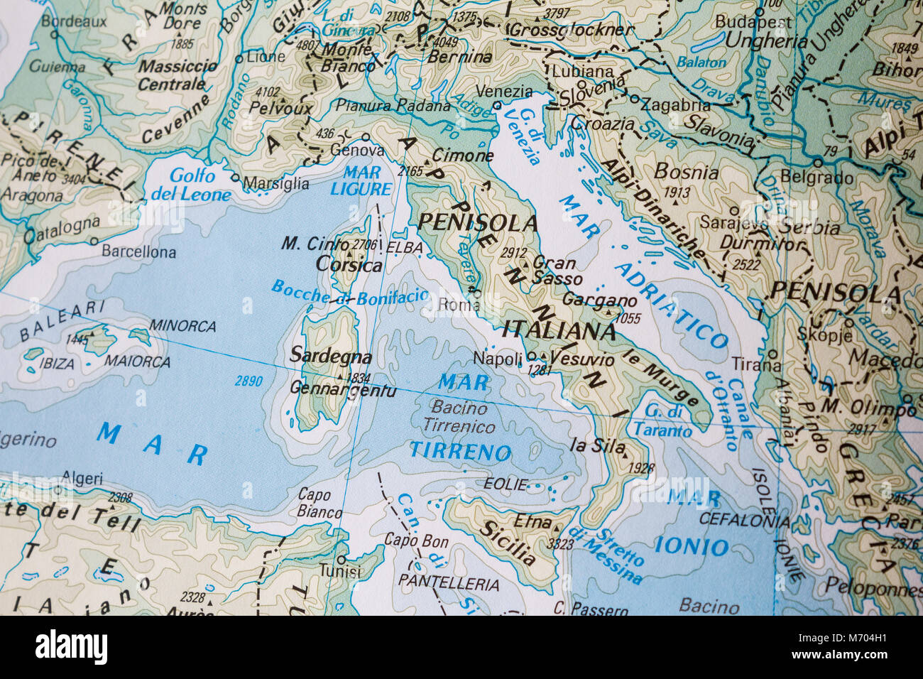 Physical map of the Southern Europe Stock Photo: 176409885 - Alamy