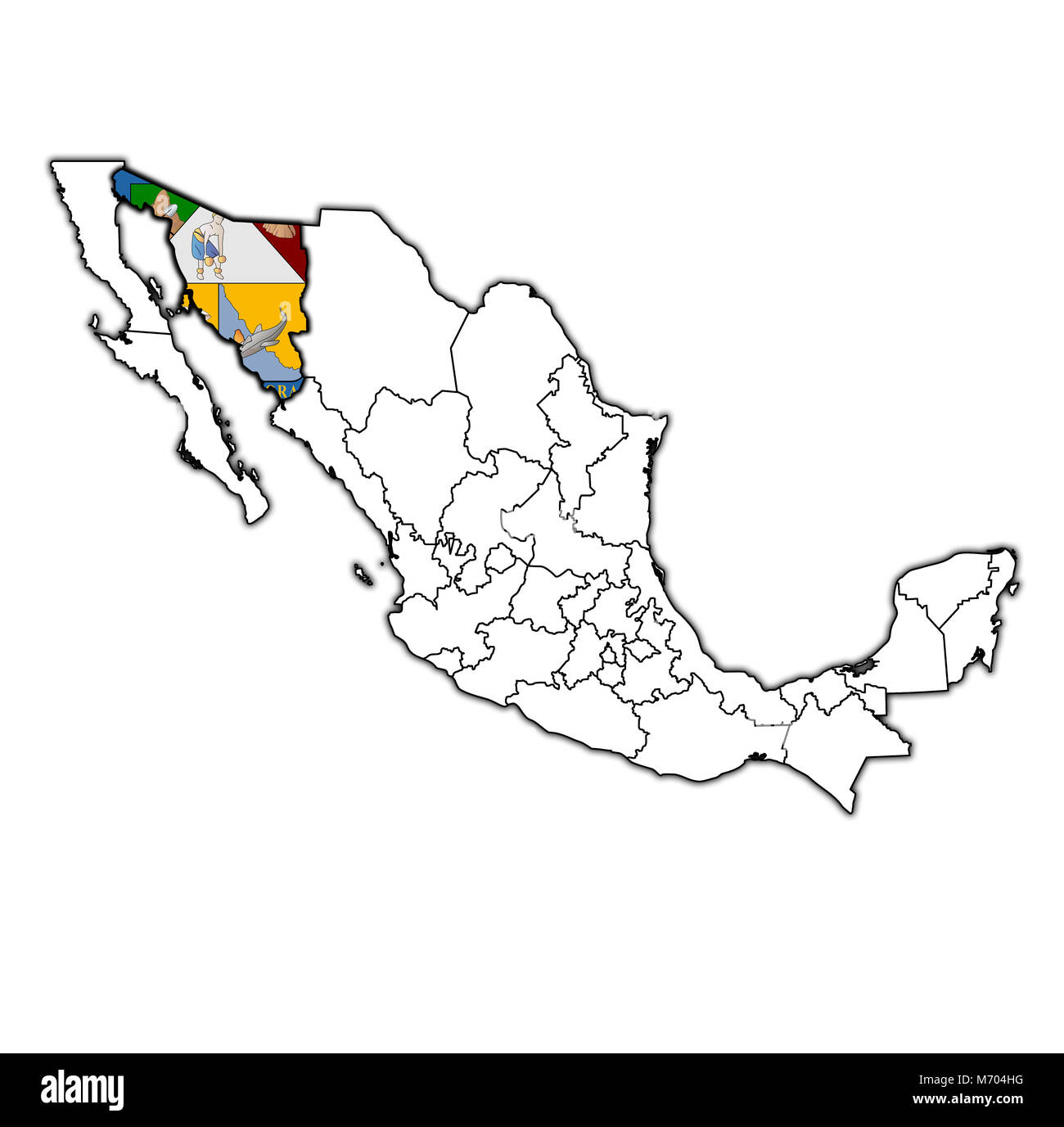 emblem of Sonora state on map with administrative divisions and borders of Mexico - Stock Image