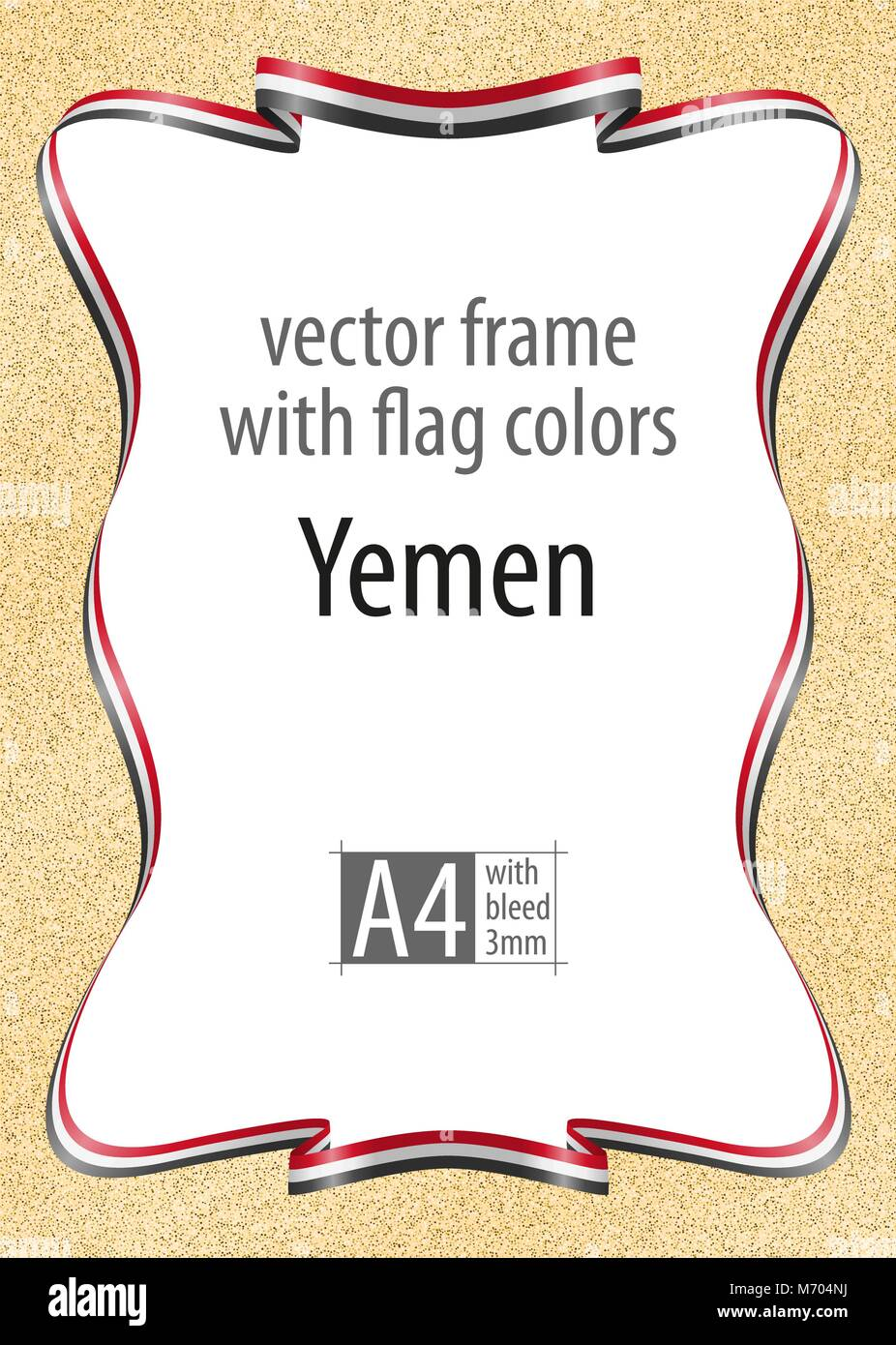 Frame and border of ribbon with the colors of the Yemen flag, template elements for your certificate and diploma. - Stock Vector