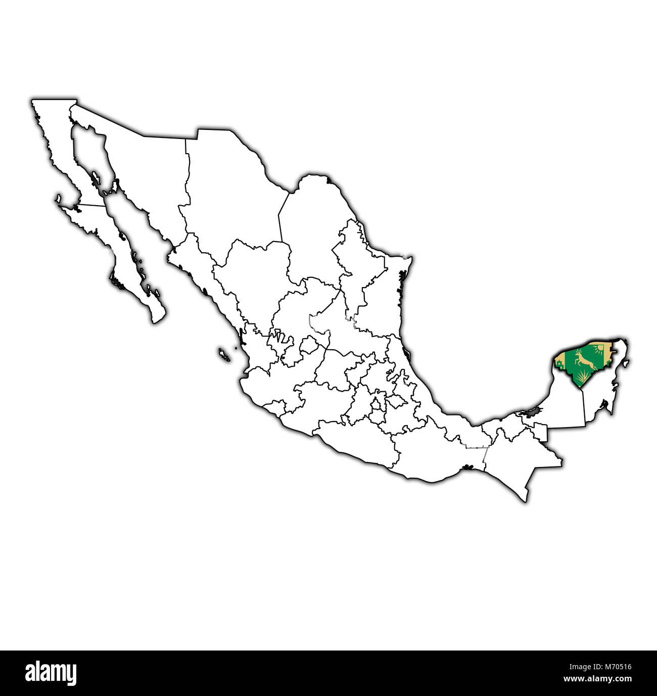 emblem of Yucatan state on map with administrative divisions and borders of Mexico - Stock Image