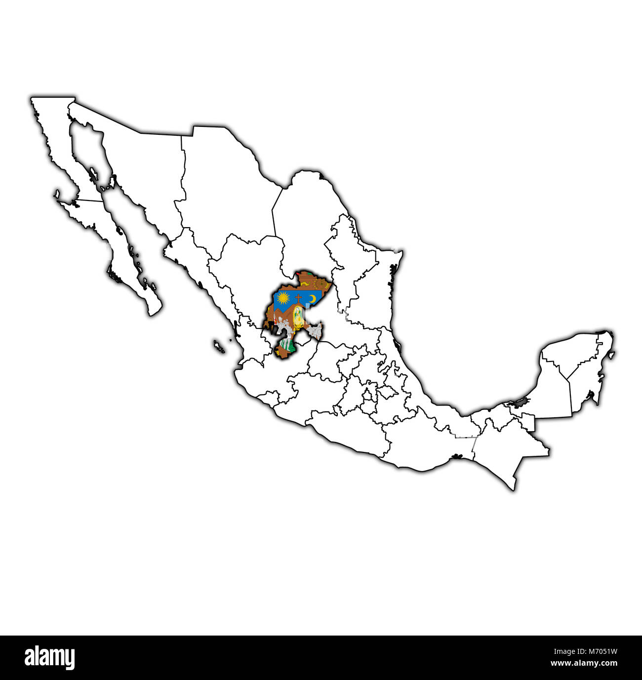 emblem of Zacatecas state on map with administrative divisions and