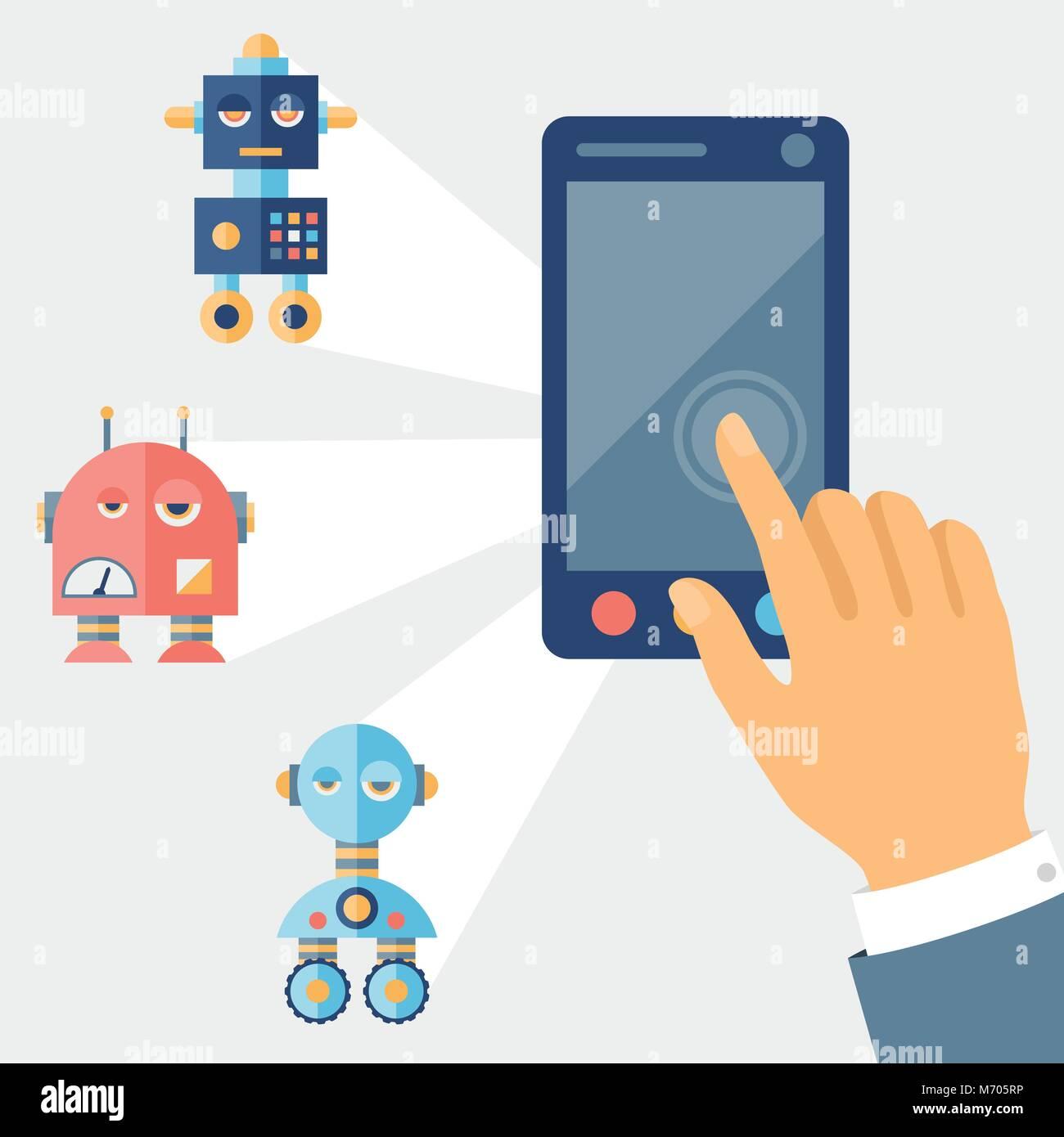 Concept control robots using gadget Stock Vector