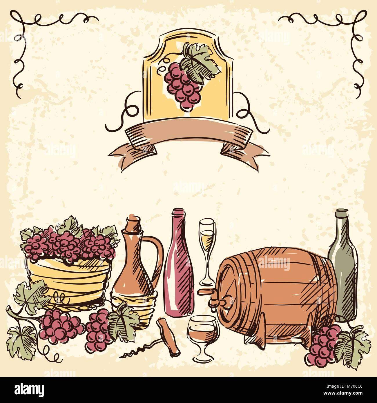 Wine vintage hand drawn illustration Stock Vector