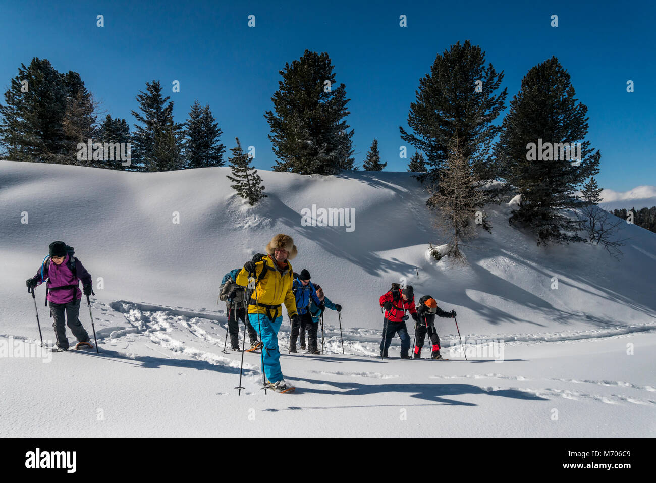 Snow shoe hiking at Kuetai in the Austrian Tirol mountains of the Sellrain Alps - Stock Image