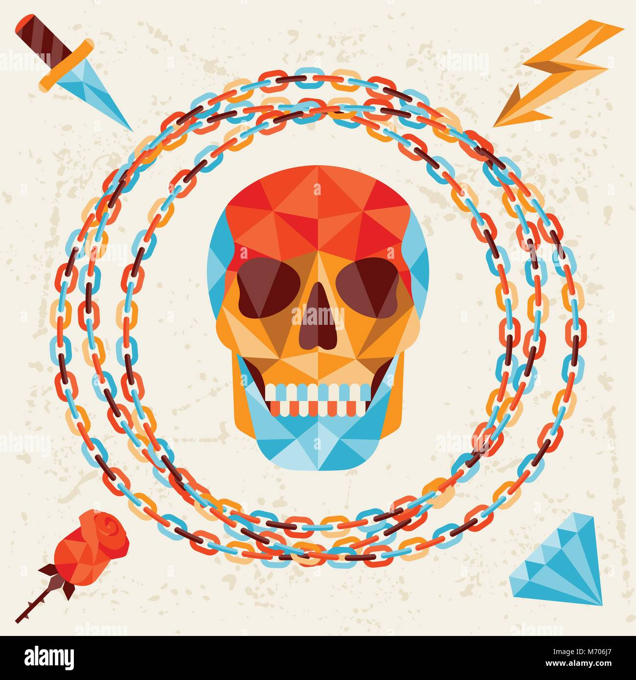 Card with colored geometric skull - Stock Vector