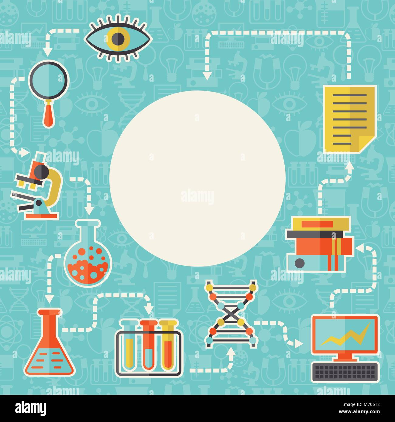 Science Laboratory Background Design: Science Concept Background In Flat Design Style Stock