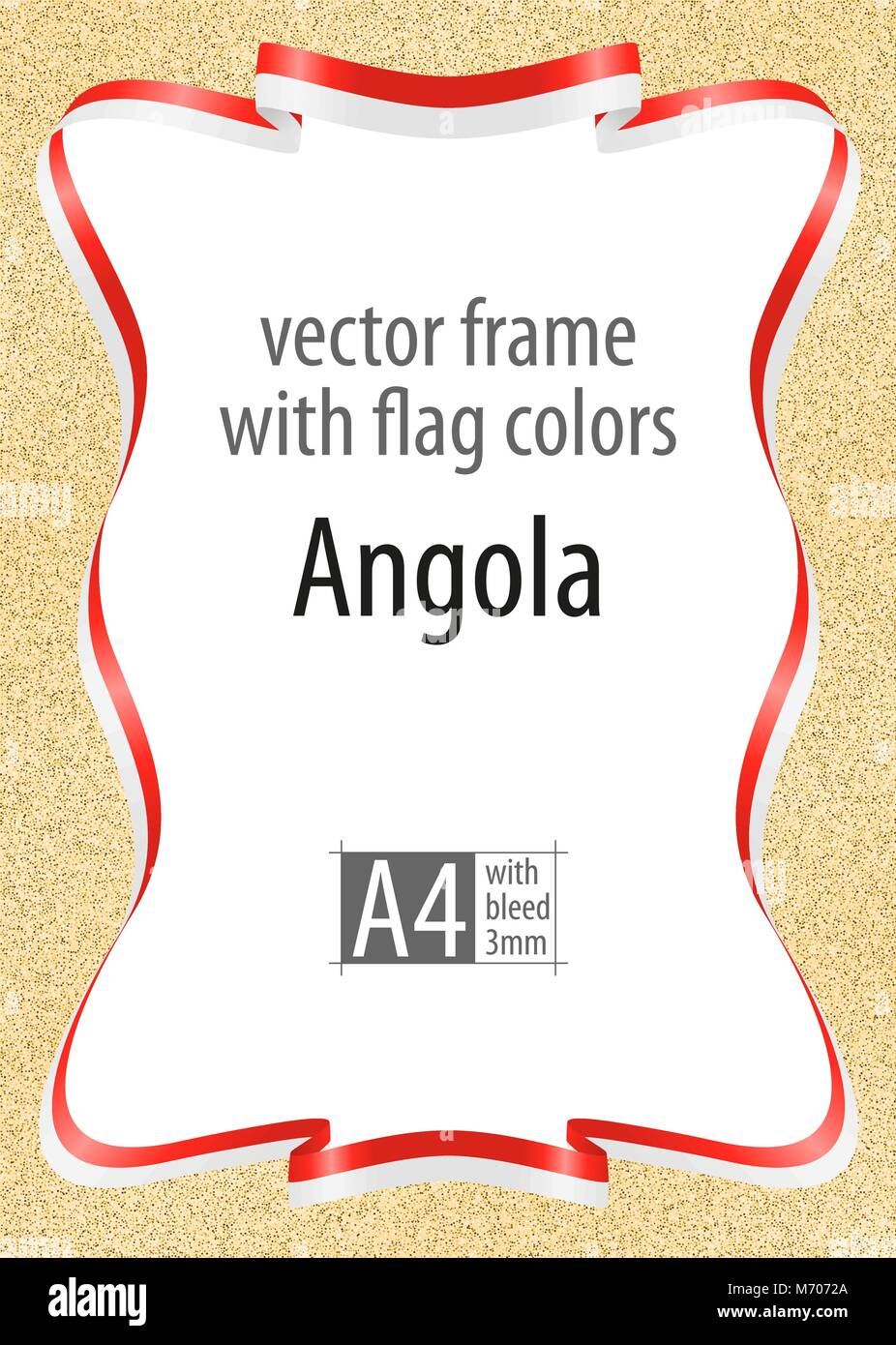 Frame and border of ribbon with the colors of the Angola flag, template elements for your certificate and diploma. - Stock Vector