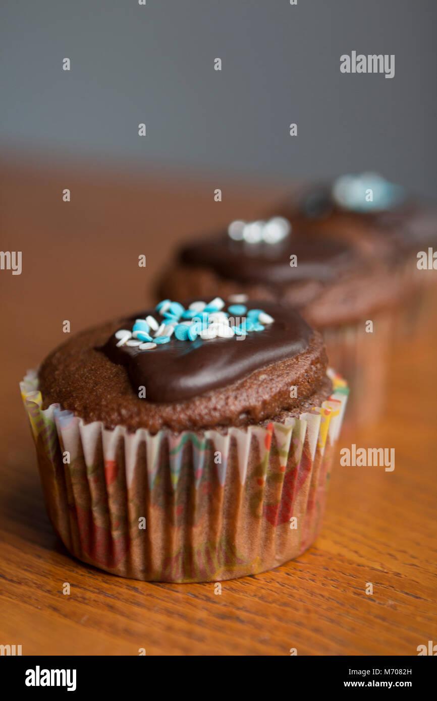 Homemade chocolate cupcakes - Stock Image