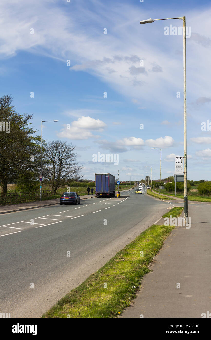 The A6 trunk road between Little Hulton and Over Hulton, Bolton. - Stock Image