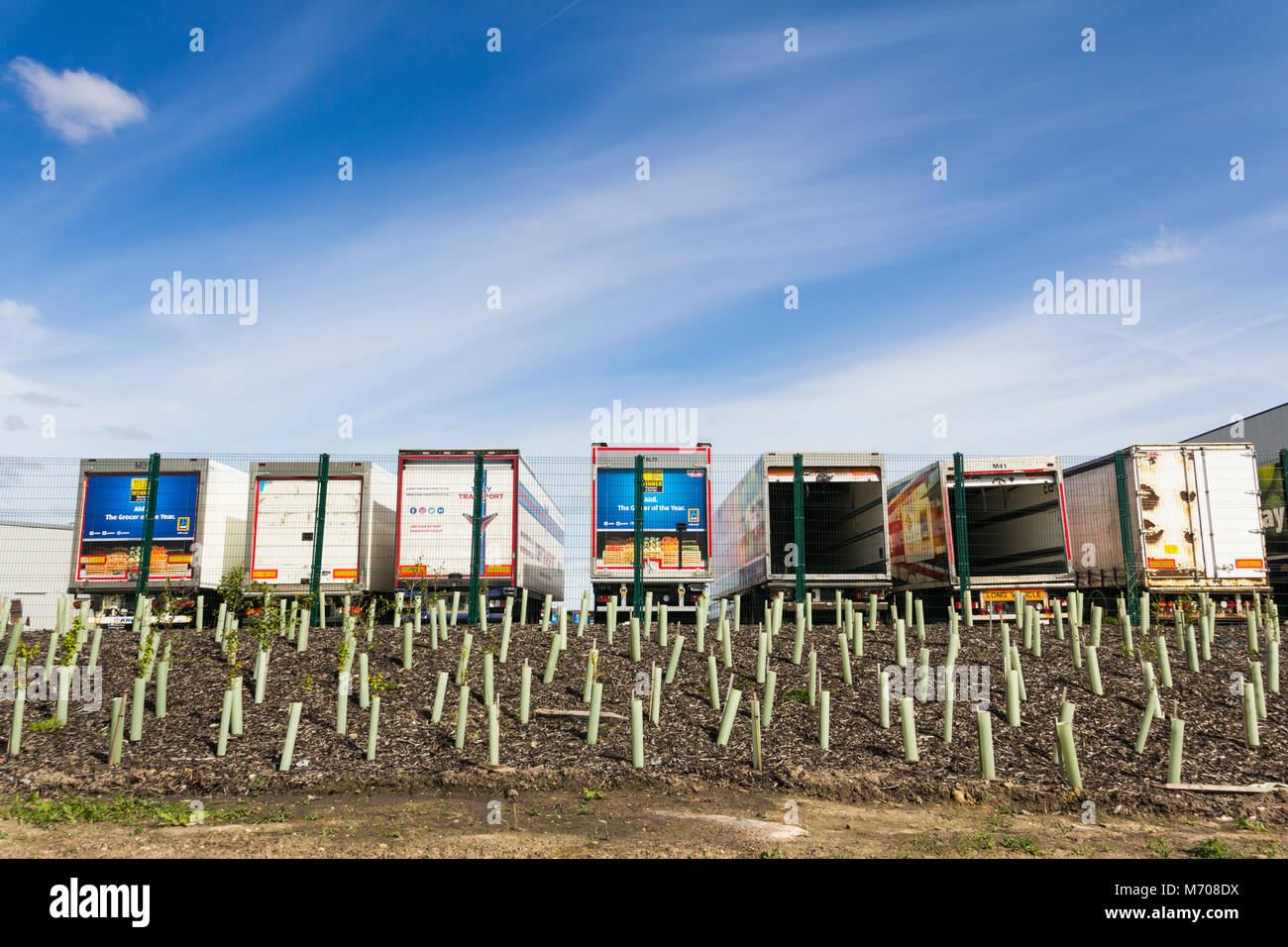 Aldi branded articulated lorry trailers outside the new Aldi Distribution warehouse at Logistics North, Over Hulton, - Stock Image
